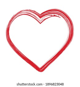Grunge hand drawn brush stroke heart shape vector illustration