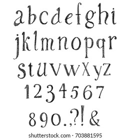 Grunge hand drawn font. Vector alphabet with numbers. Set of pencil, crayons or chalk letters.