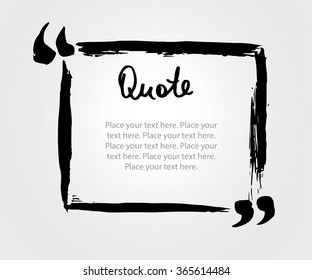 Grunge hand drawn marker blank quote template. Quote bubble with Lettering and calligraphy . Circle business card, paper sheet, information, text collection. Print design form. Vector  illustration