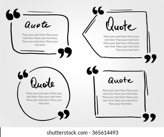 Grunge hand drawn marker blank quote template. Quote bubble with Lettering and calligraphy . Circle business card, paper sheet, information, text collection. Print design form. Vector set illustration
