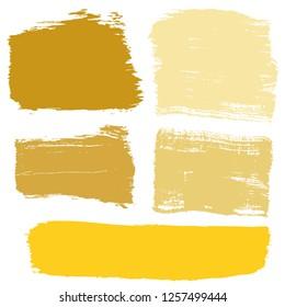 Grunge hand drawn paint brush. Curved brush stroke vector illustration. Gold.
