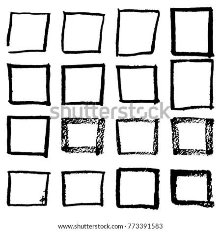 Grunge Hand Drawn Square Frame Isolated Stockvector Rechtenvrij