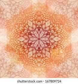 Grunge hand drawn vintage beige seamless pattern with ornate flower. Eps10
