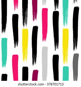 Grunge hand painted pattern with bold vertical brush strokes. Hot pink, black, yellow, blue colors.
