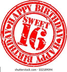 Grunge happy birthday sweet 16 rubber stamp, vector illustration