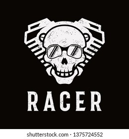 Grunge Head skull & engine logo vintage, Skull racer logo