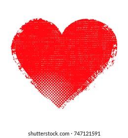 Grunge heart design.Abstract love symbol.
