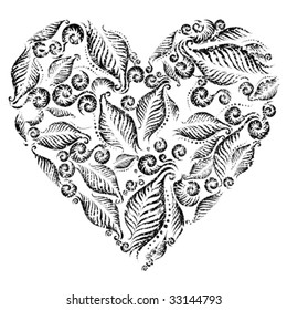 Grunge heart from fern leafs. Saint Valentine's Day.