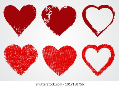 Grunge Heart Icons.Vector Heart Shape.Love Symbol.