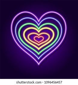 Grunge heart of neon in rainbow color. LGBT pride symbol. Vector illustration.