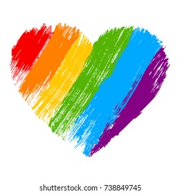 Grunge heart in rainbow color. LGBT pride symbol. Vector illustration.