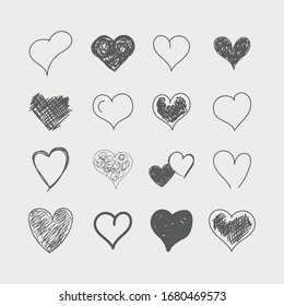 Grunge hearts on isolated white background. Set of diverse hearts patterns - simple flat designs, brush painted with a rough, uneven edge, doodle. Black and white vector illustration. Stylish signs.