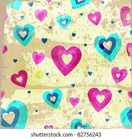 Grunge hearts vector background