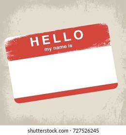 Grunge Hello Name Tag Sticker on brown