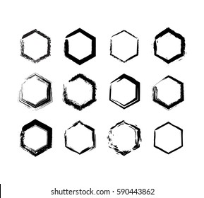 Grunge hexagon black on white