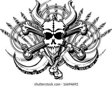 grunge horned beast pirate skull bones and crossed death scythes spikes and swirls vector illustration
