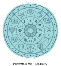 Grunge horoscope signs in astrology circle - vintage astrology emblem design. Vector illustration