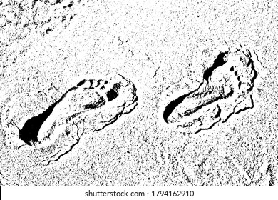Grunge human footprints in the sand. Step of bare feet on the beach. Overlay template. Vector illustration