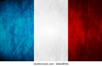 Grunge illustration of French flag. Vector background