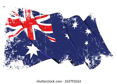 Grunge illustration of a waving Australian flag against white background, with clipping path