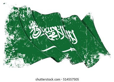 Grunge illustration of a Waving Saudi Arabian Flag. All elements neatly organized. Texture, Lines, Shading & Flag Colors on separate layers for easy editing.