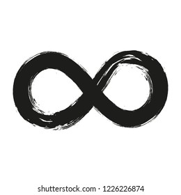 Grunge infinity symbol. Hand painted with black paint. Grunge brush stroke. Modern eternity icon. Graphic design element. Infinite possibilities, endless process. Vector illustration.