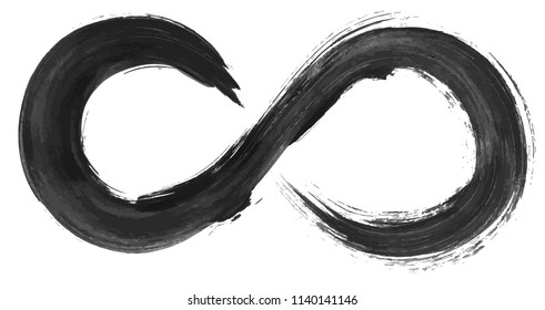 Grunge infinity symbol. Watercolor hand drawn vector illustration.