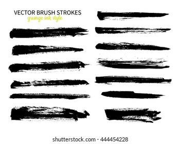 Grunge ink brush stroke set. Abstract freehand strokes. Isolated dry brush black smears. Modern design elements.