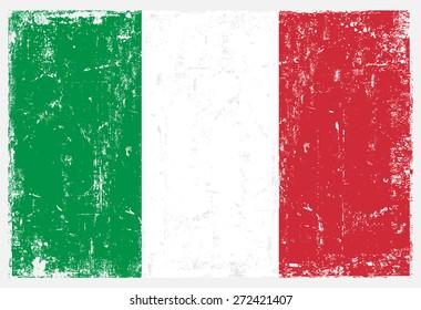 Grunge Italy flag.Italian flag with grunge texture.Vector template.