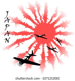 Grunge 'Kamikaze' poster.Japanese imperial flag ,vector illustration