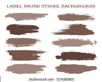 Grunge label brush stroke backgrounds, paint or ink smudges vector for tags and stamps design. Painted label backgrounds patch. Vector ink traces, color combinations. Ink smudges, stains, brown spots.