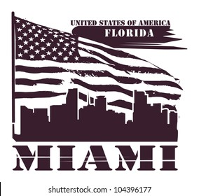 Grunge label with name of Florida, Miami, vector illustration