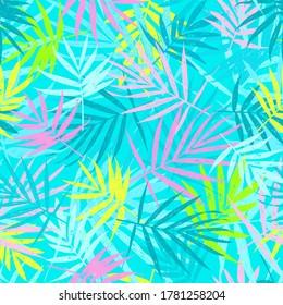 Grunge leaves pattern. Tropical foliage background. Tropic flora. Exotic leaf. Leaves fabric design. Chamaedorea palm leaf.