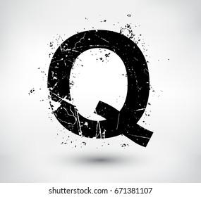 Grunge Letter QVector Distress Alphabet Font