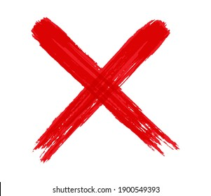 Grunge letter X.Red cross sign.