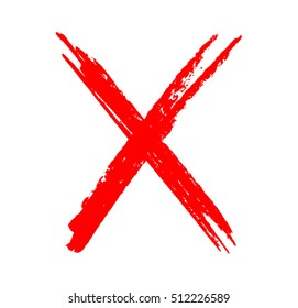Grunge letter X.Hand drawn X mark.Vector template.