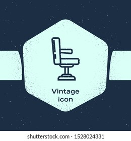Grunge line Barbershop chair icon isolated on blue background. Barber armchair sign. Monochrome vintage drawing. Vector Illustration