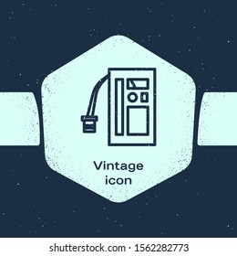 Grunge line Battery icon isolated on blue background. Accumulator battery energy power and electricity accumulator battery. Monochrome vintage drawing. Vector Illustration