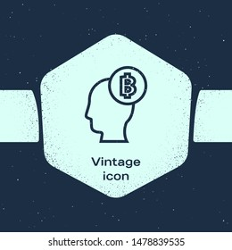 Grunge line Bitcoin think icon isolated on blue background. Cryptocurrency head. Blockchain technology, digital money market, cryptocoin wallet. Monochrome vintage drawing. Vector Illustration