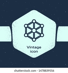 Grunge line Blockchain technology icon isolated on blue background. Cryptocurrency data. Abstract geometric block chain network technology business. Monochrome vintage drawing. Vector Illustration