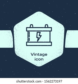 Grunge line Car battery icon isolated on blue background. Accumulator battery energy power and electricity accumulator battery. Lightning bolt. Monochrome vintage drawing. Vector Illustration