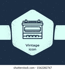 Grunge line Car battery icon isolated on blue background. Accumulator battery energy power and electricity accumulator battery. Monochrome vintage drawing. Vector Illustration
