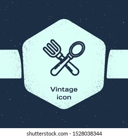 Grunge line Crossed fork and spoon icon isolated on blue background. Cooking utensil. Cutlery sign. Monochrome vintage drawing. Vector Illustration