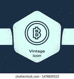 Grunge line Cryptocurrency coin Bitcoin icon isolated on blue background. Physical bit coin. Blockchain based secure crypto currency. Monochrome vintage drawing. Vector Illustration