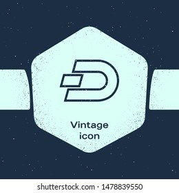 Grunge line Cryptocurrency coin Dash icon isolated on blue background. Digital currency. Altcoin symbol. Blockchain based secure crypto currency. Monochrome vintage drawing. Vector Illustration