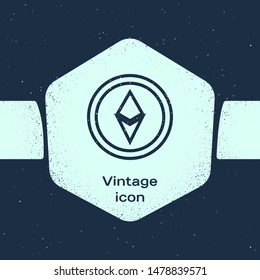 Grunge line Cryptocurrency coin Ethereum ETH icon isolated on blue background. Altcoin symbol. Blockchain based secure crypto currency. Monochrome vintage drawing. Vector Illustration