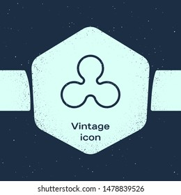 Grunge line Cryptocurrency coin Ripple XRP icon isolated on blue background. Altcoin symbol. Blockchain based secure crypto currency. Monochrome vintage drawing. Vector Illustration