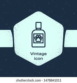 Grunge line Dog medicine bottle icon isolated on blue background. Container with pills. Prescription medicine for animal. Monochrome vintage drawing. Vector Illustration