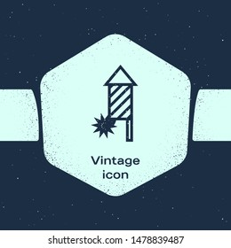 Grunge line Firework rocket icon isolated on blue background. Concept of fun party. Explosive pyrotechnic symbol. Monochrome vintage drawing. Vector Illustration