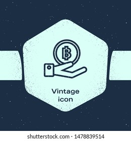 Grunge line Hand holding Bitcoin icon isolated on blue background. Blockchain technology, digital money market, cryptocoin wallet. Monochrome vintage drawing. Vector Illustration